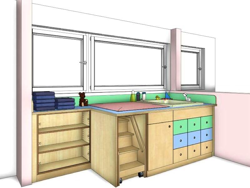 wickeltische f r kindergarten und kita der wickelbereich besteht aus einem wickeltisch und. Black Bedroom Furniture Sets. Home Design Ideas